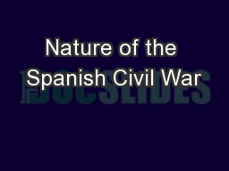 Nature of the Spanish Civil War