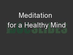 Meditation for a Healthy Mind