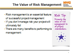 1 The Value of Risk Management