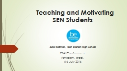 Teaching and Motivating SEN Students