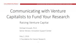 1 Communicating with Venture Capitalists to Fund Your Resea