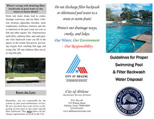 Guidelines for proper swimming pool and filter backwash water disposal