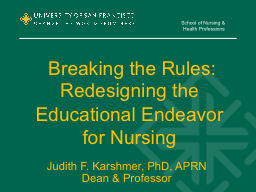 Breaking the Rules: Redesigning the Educational Endeavor f