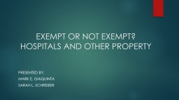 EXEMPT OR NOT EXEMPT?