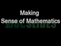 Making Sense of Mathematics