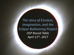 The story of Einstein, imagination, and the Eclipse Balloon