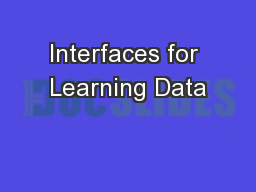 Interfaces for Learning Data