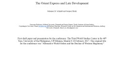 The Orient Express and Late Development
