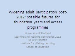 Widening adult participation post-2012: possible futures fo