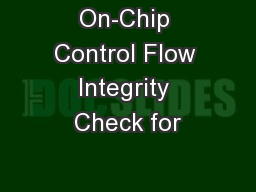 On-Chip Control Flow Integrity Check for