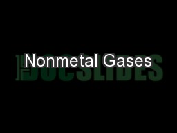 Nonmetal Gases PowerPoint PPT Presentation
