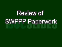 Review of SWPPP Paperwork
