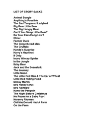 LIST OF STORY SACKS Animal Boogie Anythings Possible T