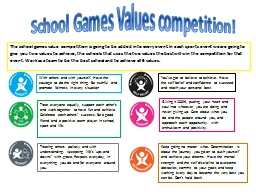 School Games Values competition!