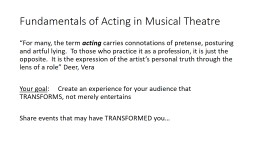Fundamentals of Acting in Musical Theatre