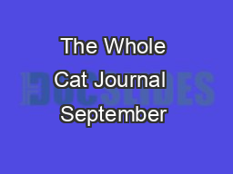 The Whole Cat Journal  September