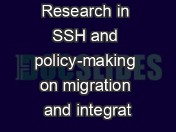 Research in SSH and policy-making on migration and integrat