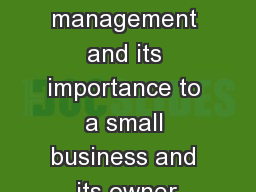 Financial management and its importance to a small business and its owner