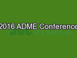 2016 ADME Conference