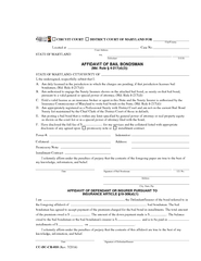 vs Defendant STATE OF MARYLAND AFFIDAVIT OF BAIL BONDS