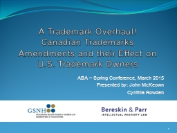 A Trademark Overhaul! PowerPoint PPT Presentation