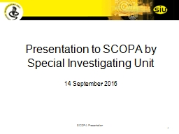 Presentation to SCOPA by Special Investigating Unit