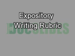 Expository Writing Rubric