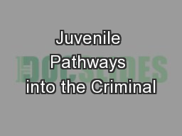 Juvenile Pathways into the Criminal PowerPoint PPT Presentation