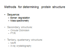 Methods for determining protein structure PowerPoint PPT Presentation