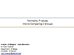 Normality, P-values, PowerPoint PPT Presentation