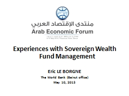 Experiences with Sovereign Wealth Fund Management
