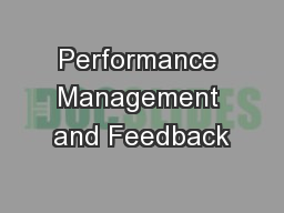Performance Management and Feedback