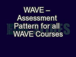WAVE – Assessment Pattern for all WAVE Courses