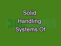 Solid Handling Systems Of