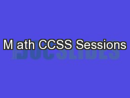 M ath CCSS Sessions