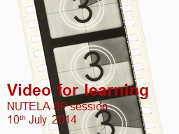 Video for learning