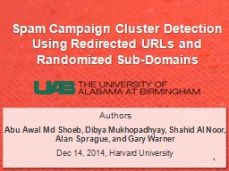 Spam Campaign Cluster Detection Using Redirected URLs and R