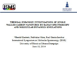 THERMAL EXPANSION INVESTIGATIONS OF SINGLE WALLED CARBON NA