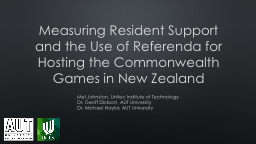 Measuring Resident Support and the Use of Referenda for Hos PowerPoint PPT Presentation