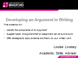 Developing an Argument in Writing