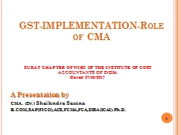 GST-IMPLEMENTATION-Role of CMA PowerPoint PPT Presentation