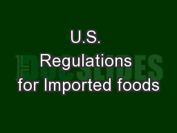U.S. Regulations for Imported foods