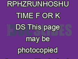 Name  Date  RPHZRUNHOSHU TIME F OR K DS This page may be photocopied for use with students