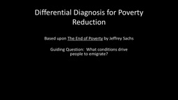 Differential Diagnosis for Poverty Reduction