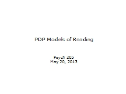 PDP Models of Reading