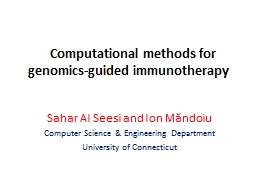 Computational methods for genomics-guided immunotherapy PowerPoint PPT Presentation