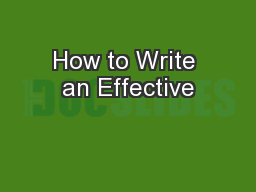 How to Write an Effective