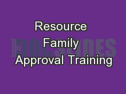 Resource Family Approval Training