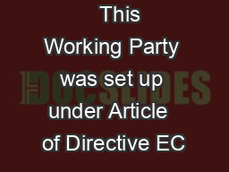 This Working Party was set up under Article  of Directive EC