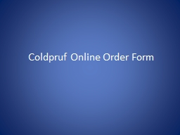 Coldpruf Online Order Form